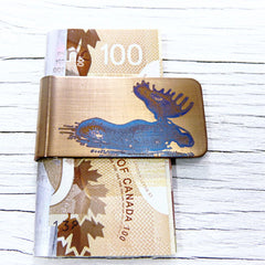 Wading Moose Money Clip.  Gold Money Clip with Blue Moose.