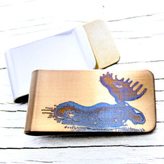 Bull Moose Money Clip.  Rustic Money Clip.