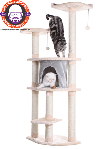 Armarkat 62-inch Faux Fur Cat Tree, Almond with Grey Condo