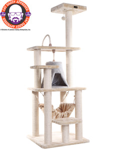 Armarkat 65-inch Faux Fur Cat Tree, Beige with Hammock and Tent