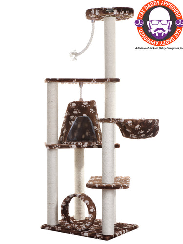 Armarkat 66-inch Faux Fur Cat Tree, SaddleBrown with White Paw Prints