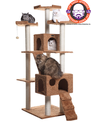 Armarkat 74-inch Ultra-Thick Faux Fur Cat Tree, Ochre Brown