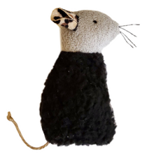 Load image into Gallery viewer, Space Kitty Express Refillable Black Sherpa Mouse with Catnip Alternative Blend