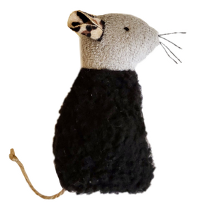 Space Kitty Express Refillable Black Sherpa Mouse with Catnip Alternative Blend