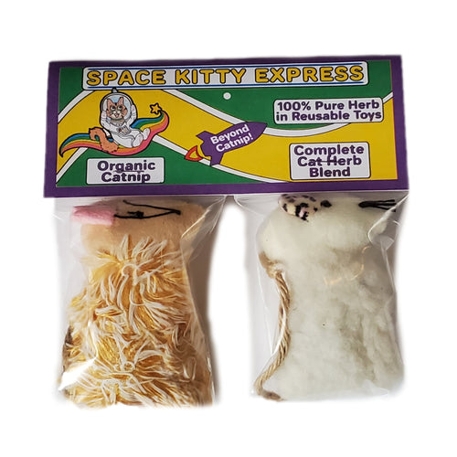 Space Kitty Express 2 cat toys: one with Organic Catnip and the other with Complete Cat Herb Blend, front of package