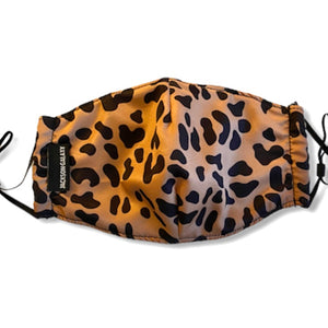 view of the front of face mask - leopard print