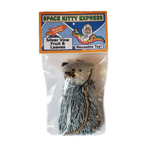 Space Kitty Express cat toy filled with Silver Vine Fruit & Leaves, front of package