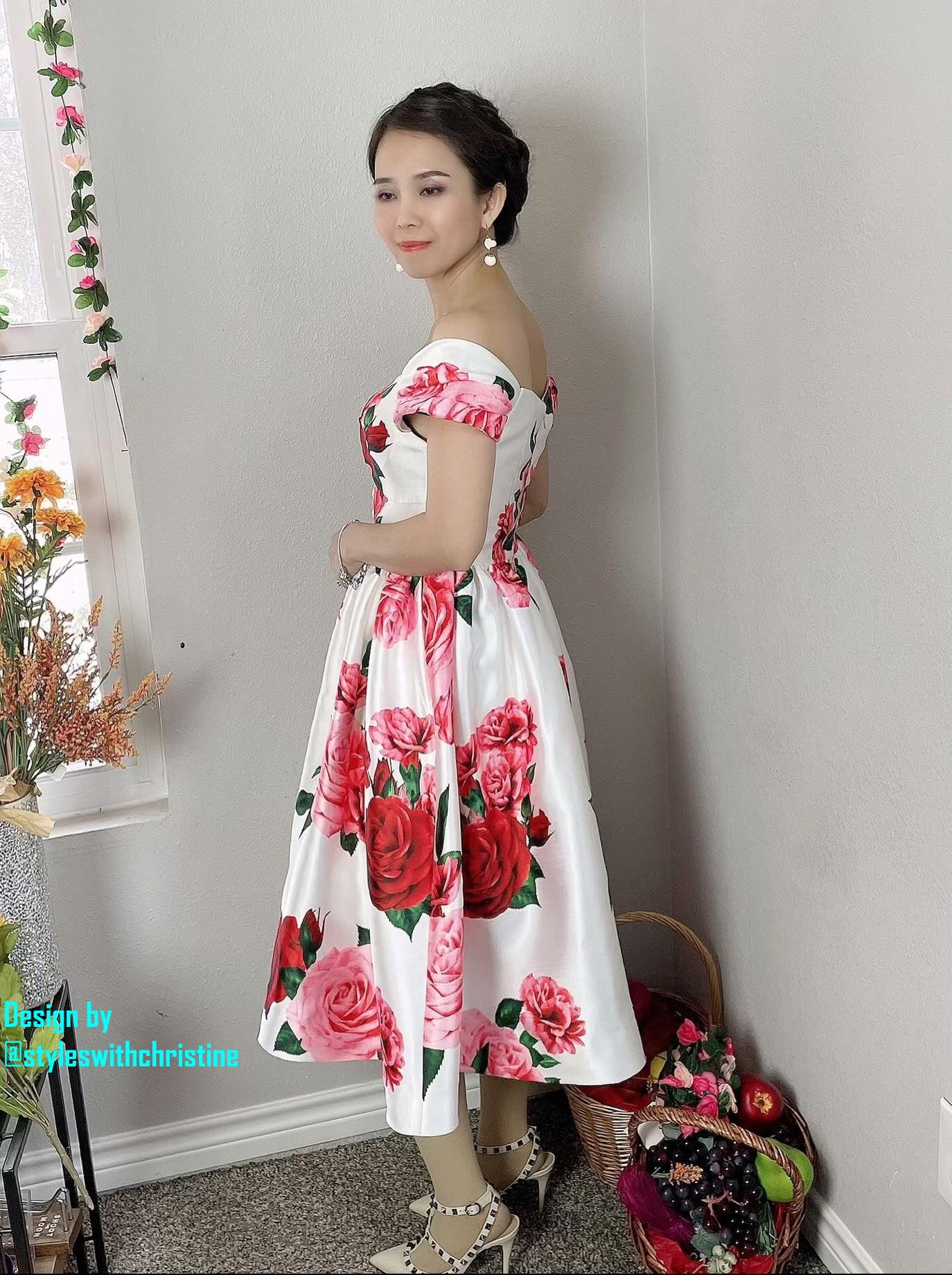 Diana Dress in Roses Taffeta - Shop women style vintage, Audrey Hepburn jackets online -Christine