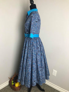 Catherine dress in bloom flowers cotton blue - Shop women apparel, face masks, Jumpsuits, Ladies jackets online - Style with Christine