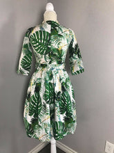 Load image into Gallery viewer, Becky Dress in Solid cotton Tropical Leaves - Shop women style vintage, Audrey Hepburn jackets online -Christine
