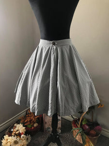 Lolita Skirt Small Black Checkered Gingham - Shop women style vintage, Audrey Hepburn jackets online -Christine