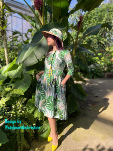 Becky Dress in Solid cotton Tropical Leaves - Shop women style vintage, Audrey Hepburn jackets online -Christine
