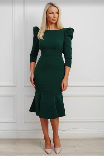 Joana dress in solid green cotton - Shop women apparel, face masks, Jumpsuits, Ladies jackets online - Style with Christine