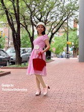 Load image into Gallery viewer, Elisa Dress in Gingham pink linen