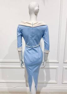 Casa dress in solid Blue white cotton - Shop women style vintage, Audrey Hepburn jackets online -Christine