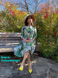 Becky Dress in Solid cotton Tropical Leaves size S - Shop women apparel, face masks, Jumpsuits, Ladies jackets online - Style with Christine