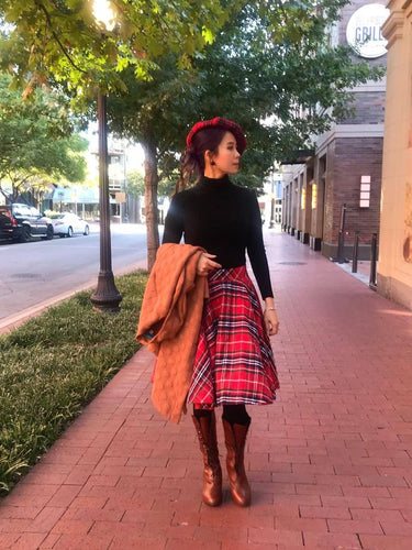 Lolita Skirt Autumn - Christmas Plaid - Shop women style vintage, Audrey Hepburn jackets online -Christine