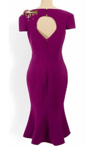 Natasha dress in Purple solid cotton - Shop women apparel, face masks, Jumpsuits, Ladies jackets online - Style with Christine