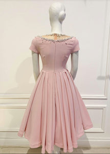 Lolita Dress in Solid Pink cotton - Shop women apparel, face masks, Jumpsuits, Ladies jackets online - Style with Christine