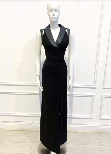 Layla Gown in solid black cotton - Shop women apparel, face masks, Jumpsuits, Ladies jackets online - Style with Christine