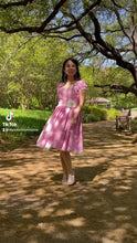 Load and play video in Gallery viewer, Elisa Dress in Gingham pink linen