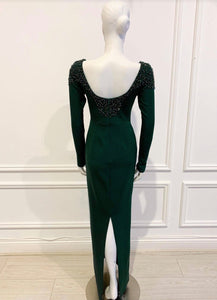 Jessi Gown in solid Green cotton - Shop women apparel, face masks, Jumpsuits, Ladies jackets online - Style with Christine