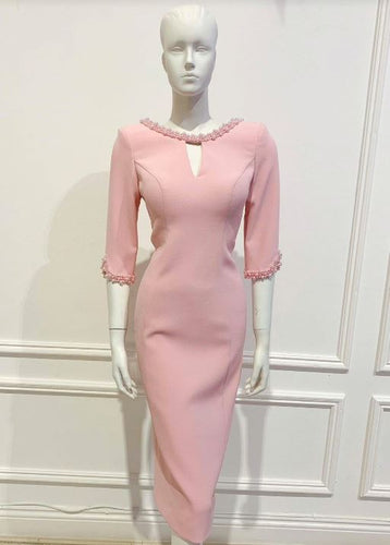 Mila dress in Pink solid cotton - Shop women apparel, face masks, Jumpsuits, Ladies jackets online - Style with Christine