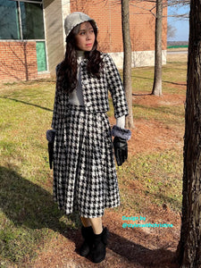 Lisa Collar suit in Tweed plaid patterns size S - Shop women style vintage, Audrey Hepburn jackets online -Christine