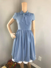 Load image into Gallery viewer, Kate Dress in Solid Blue Jean Cotton size S - Shop women style vintage, Audrey Hepburn jackets online -Christine