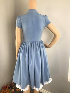 Kate Dress in Solid Blue Jean Cotton size S - Shop women style vintage, Audrey Hepburn jackets online -Christine