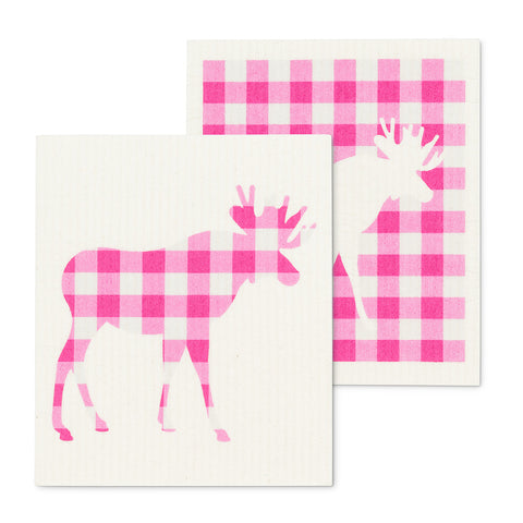 Gingham Moose, Set of 2