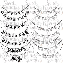 Load image into Gallery viewer, Digital Stamp - Holiday Banner Sentiment Pack