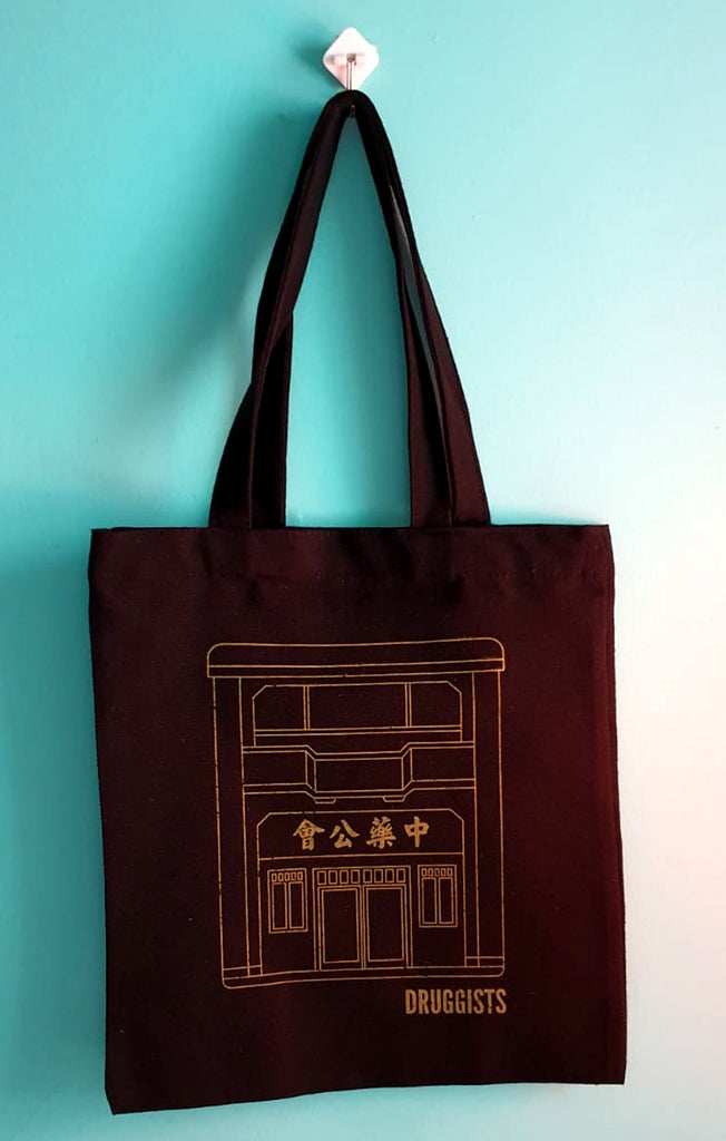 DRUGGISTS BLACK TOTE BAG