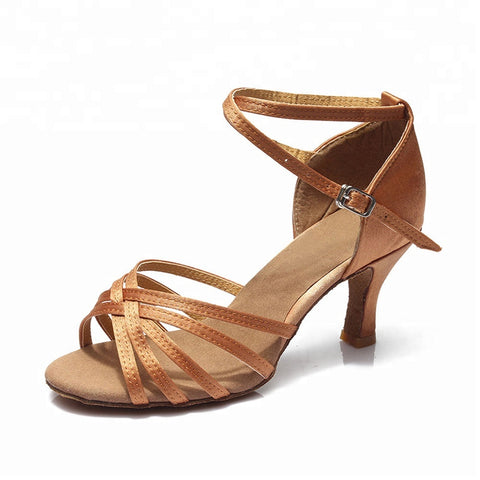 50% OFF! Women's Salsa Bachata Ballroom Dance Shoes Tan