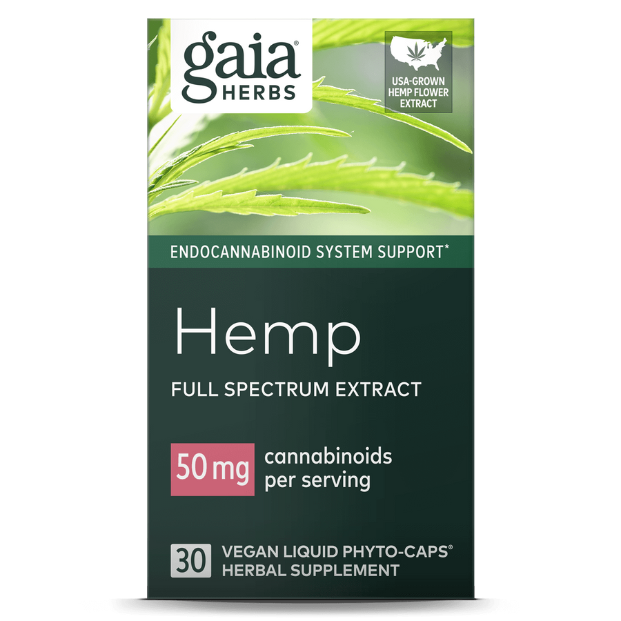 Gaia Herbs Hemp 50 mg for Endocannabinoid System Support || 30 ct