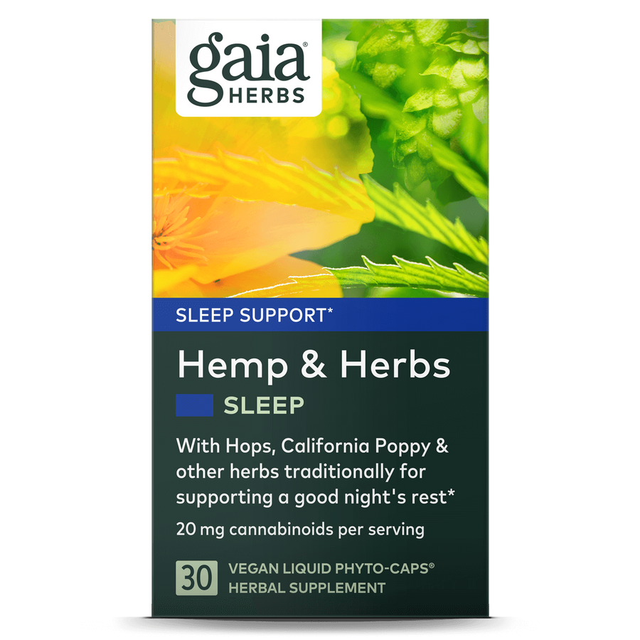 Gaia Herbs Hemp & Herbs Sleep carton front || 30 ct