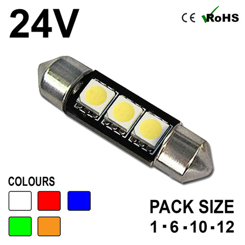 24v 39mm Festoon 242 3 SMD LED Bulb