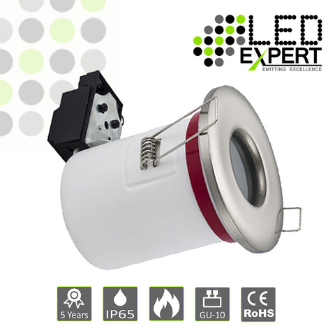 Fire Rated White / Nickel Cast GU10 IP65 Downlight