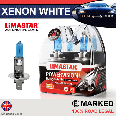 12v H1 448 Limastar Xenon White Halogen Bulbs (PAIR)