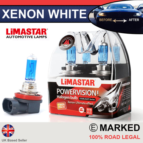 H8 708 35w Limastar Xenon White Halogen Bulbs (PAIR)