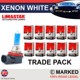 H8 708 35w Limastar Xenon White Halogen Bulbs (10 PACK)