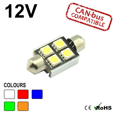 12v 36mm Festoon 4 SMD LED Bulb (canbus)