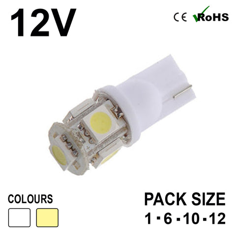 12v 501 5 SMD LED Capless Bulb