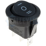 On/Off/On 20mm Black Round Rocker Switch SPDT
