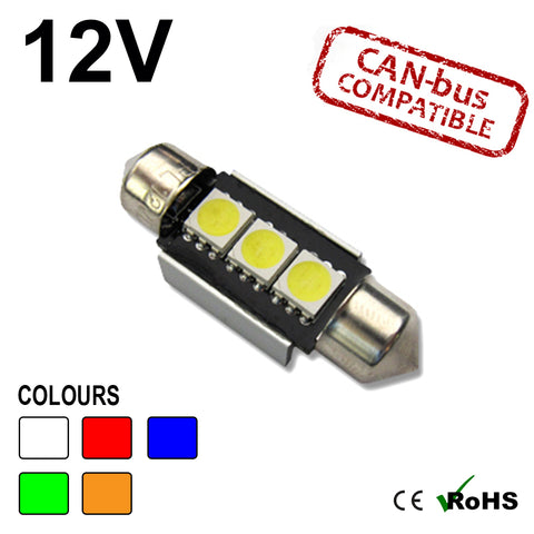 12v 36mm Festoon 3 SMD LED Bulb (canbus)