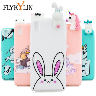 FLYKYLIN Rabbit Unicorn Case For Xiaomi Redmi 7 7A 6 Pro 6A 5 5A 4A 4X K20 Back Cover on Note 7 Soft TPU Silicone 3D Toys Coque