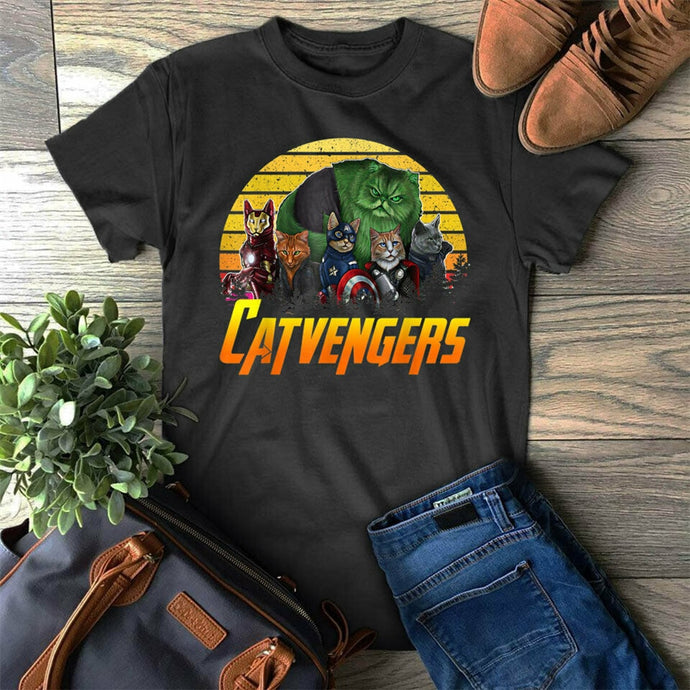 Retro Vintage Catvengers Shirt Gift For Cat Lover Mom Dad Cats T-Shirt Harajuku Tops Fashion Classic Tee Shirt