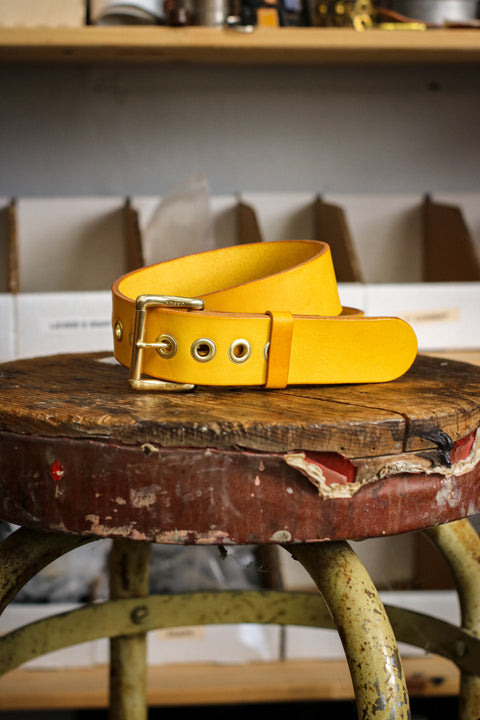 Leather Belt | Veg-Tan Roller-Buckle + Grommets