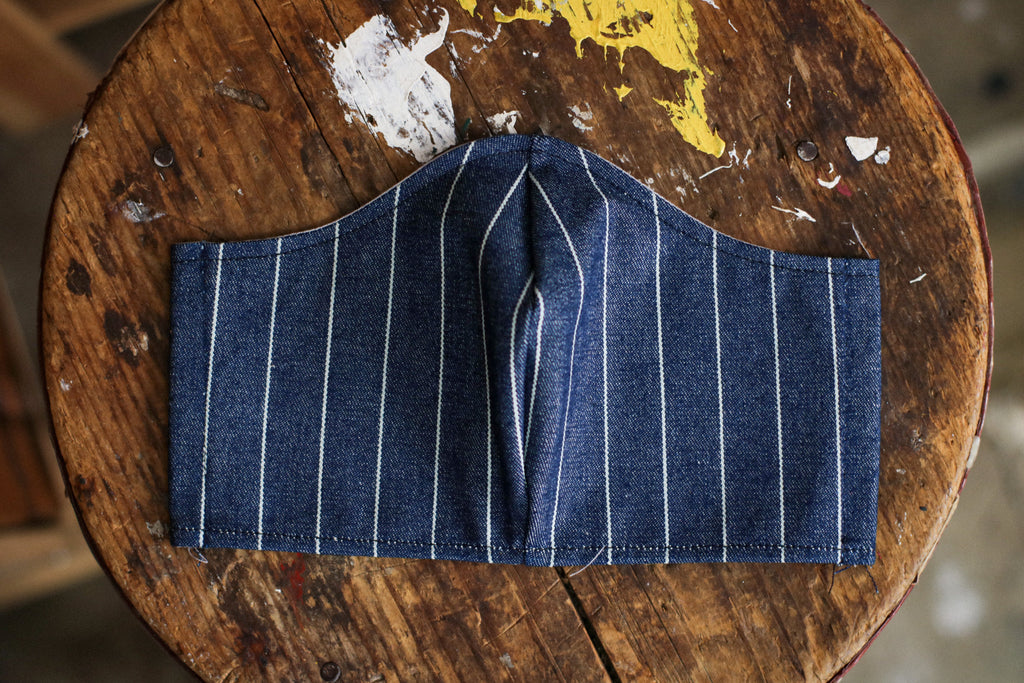 Cotton Face Mask | 13oz. Pinstripe Denim