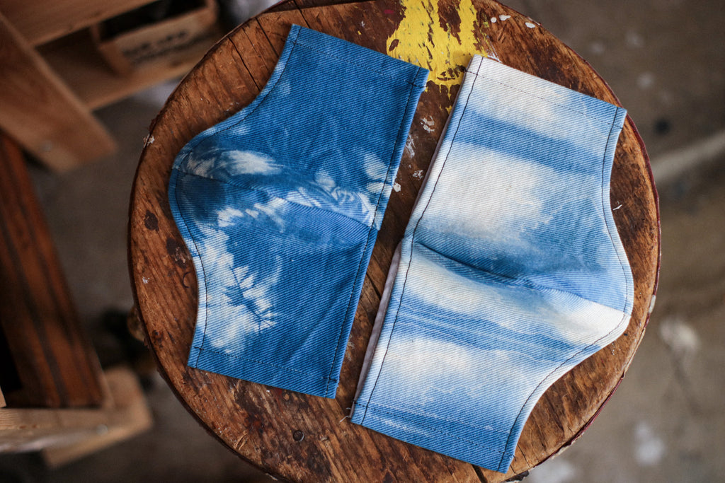 Cotton Face Mask | 13oz. NATURAL DENIM + INDIGO SHIBORI